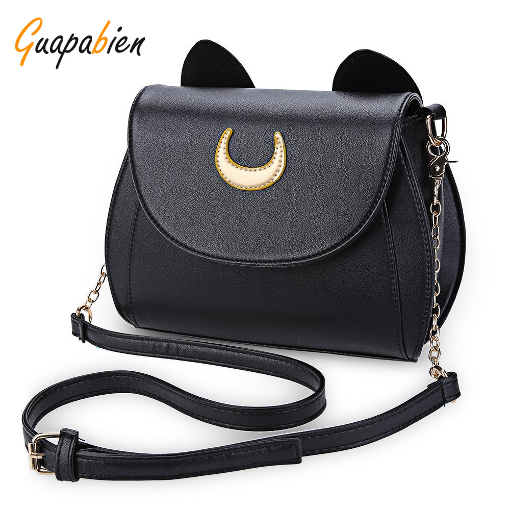 Guapabien Kawaii Summer Sailor Moon Ladies Handbag Black Luna Cat Chain Shoulder Bag Leather Women Messenger Crossbody Small Bag 2017 new summer limited sailor moon chain shoulder bag ladies lock pu leather handbag women messenger crossbody small bag