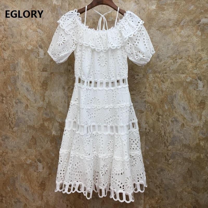 Évider broderie robe 2019 été mode Sexy fête robe blanche dames licou cou à manches courtes Slim ajusté robe filles