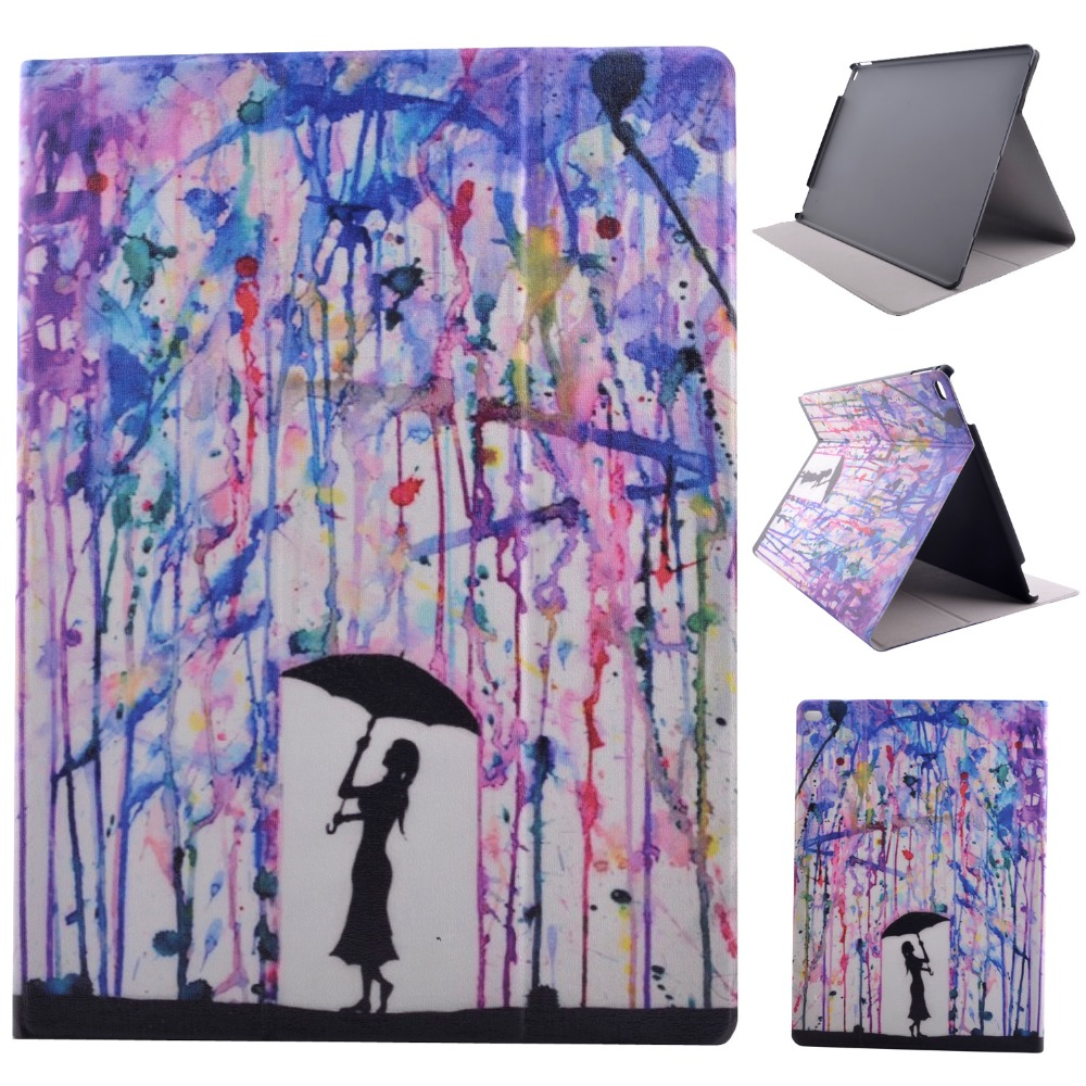 High Quality Print Painting Stand PU Leather Sleeve Shell Cover Protective Case For Apple iPad Pro 12.9 inch Tablet