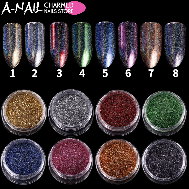 8 Colors/set Nail Art Glitter Holographic Irregular Dust Flakes Mirror Effect Nail Powders Chrome Pigments Nail Vtirk Decoration