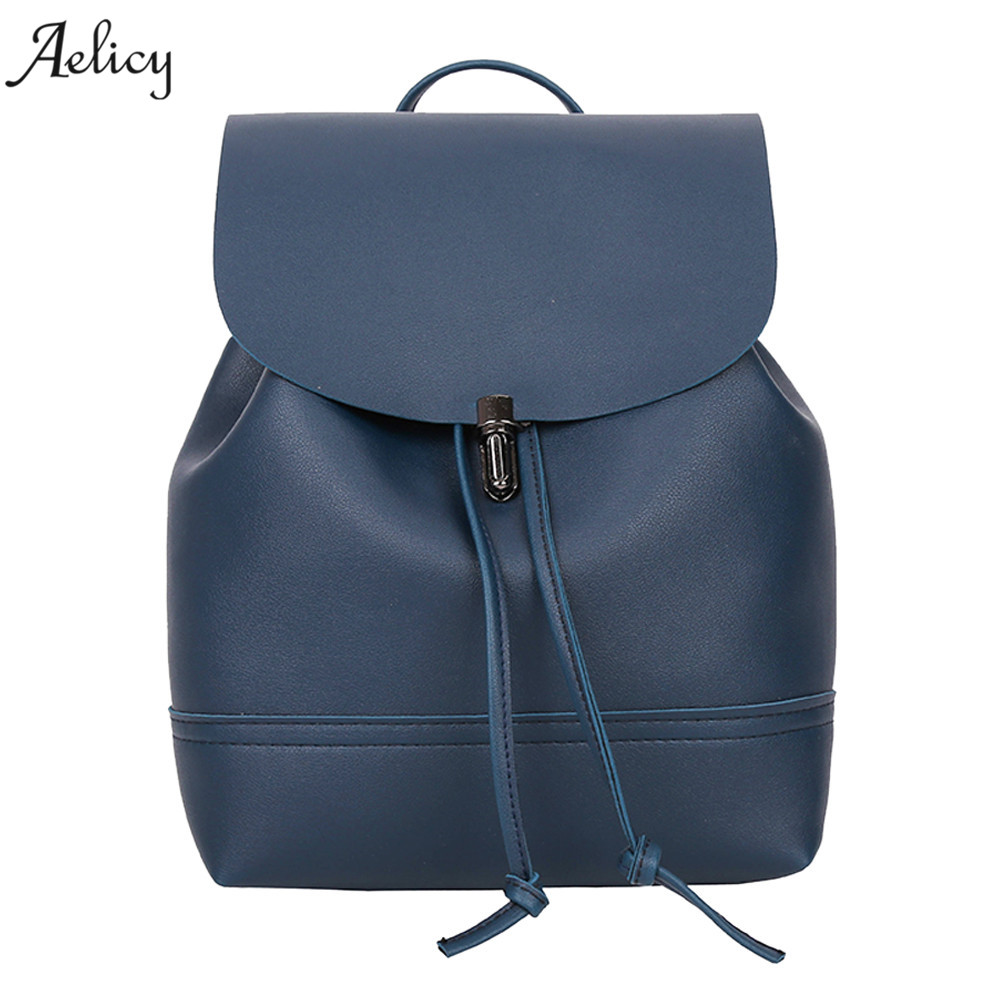 Aelicy bags for women 2018 @@ Vintage Pure Color Leather School Bag Backpack Satchel Women Trave Shoulder Bag mochila feminina aelicy luxury pu leather backpack women preppy style school bags women rucksack travel satchel bags mochila feminina women bag