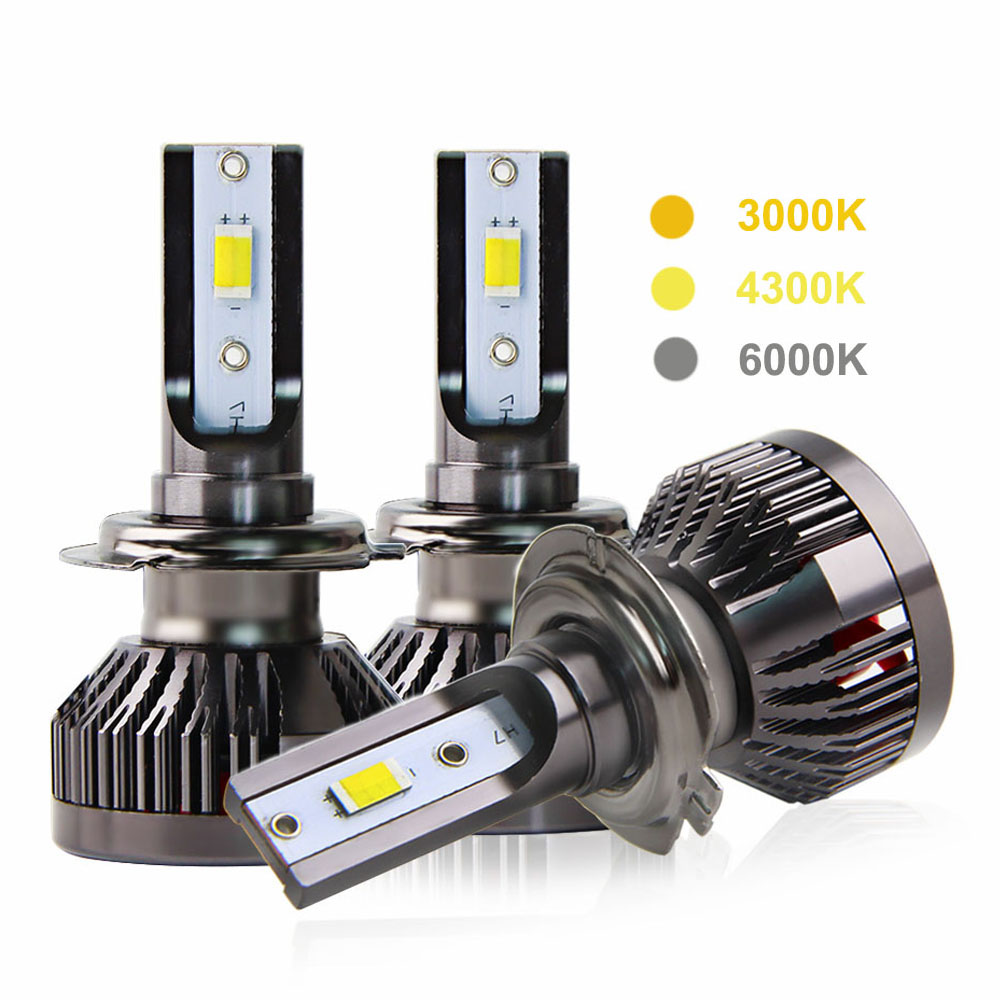 2PCS H7 Led Car Light 100W 10000LM Mini Car Headlight Bulb 3000K 4300K 6000K Auto Led Lamp H1 H4 LED H11 H8 HB3 9005 HB4 12V 24V 2x 30w 3600lm h1 led headlight bulb all in one led car headlights gen2s car led headlight cree eti 3000k 5000k 6000k blue pink