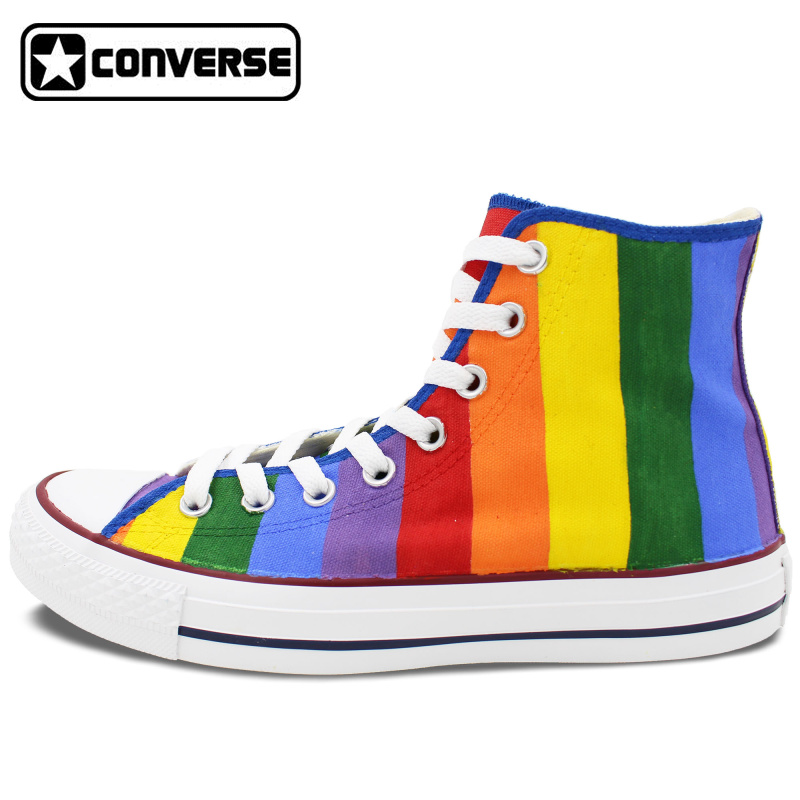 Prix pour Coloré Converse All Star Femmes Hommes Chaussures Arc-En-Design Original Peint À La Main Chaussures Femme Homme High Top Toile Sneakers