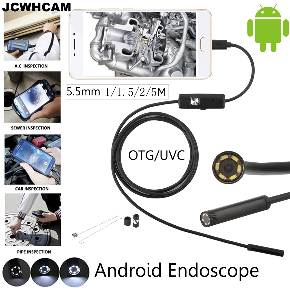 JCWHCAM 5.5mm Lens Android OTG USB Endoscope Camera 1M 2M 3.5M 5M Waterproof Snake Pipe Inspection Android USB Borescope Camera