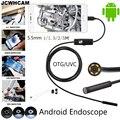 JCWHCAM 5,5mm lente Android OTG USB endoscopio Cámara 1 m 2 m 3,5 m 5 M impermeable serpiente tubo inspección Android USB boroscopio Cámara