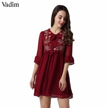 4f53d2574 Vadim mujeres pajarita floral bordado volantes vestido de gasa flare manga  plisada ocasional retro vestidos vestido mujer QZ3213