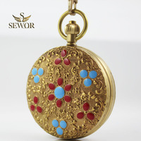 2017 SEWOR Luxury Classical Noble Bronze Ceramic Flower Pattern Double Open Star Pocket Watch C306
