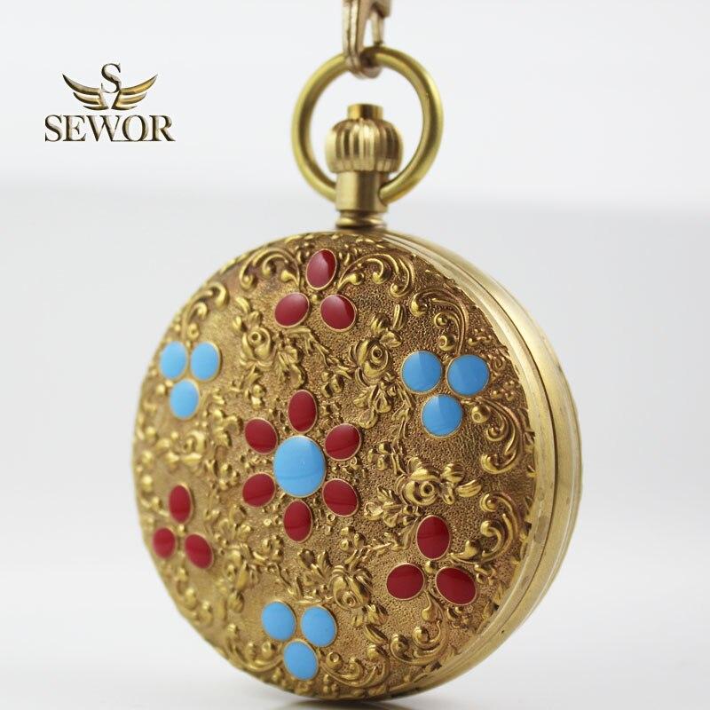 SEWOR Luxe Classique Noble Bronze Céramique Fleur Motif Double Ouvert Étoiles Antique montre de poche C206