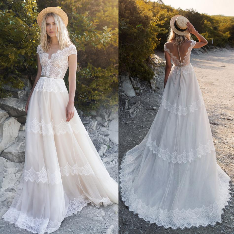 2019 Bohemian Wedding Dresses Sexy V Neck Short Sleeve Lace Appliques Bridal Gowns Beach A Line Wedding Dress Robe De Mariee