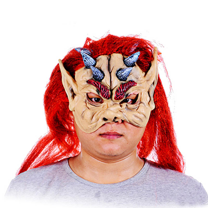 Red Hair Scary Adult Costume Mask Horror Party Cosplay
