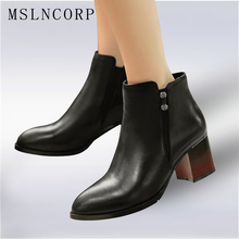 Size 34-43 thick heel genuine leather women boots fashion high heels woman ankle boots ladies shoes Spring Autumn martin boots 2019 handmade genuine leather shoes woman 5cm thick heels women boots martin boots fashion rivets ankle boots large size 42