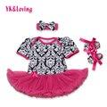 Damasco bebê girl dress cotton shortsleeve macacão + bandana + sapatos lace ruffle vestidos de tutu 2017 verão conjunto de roupas