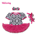 Damascus Baby Girl Dress Cotton Shortsleeve Jumpsuit + Headband + Shoes Lace Ruffle Tutu Dresses 2017 Summer Clothing Set