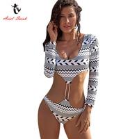 Ariel Sarah Halter One Piece Swimsuit Geometric Swimwear Long Shoulder Women Swimsuit Sexy Bathing Suit Maillot