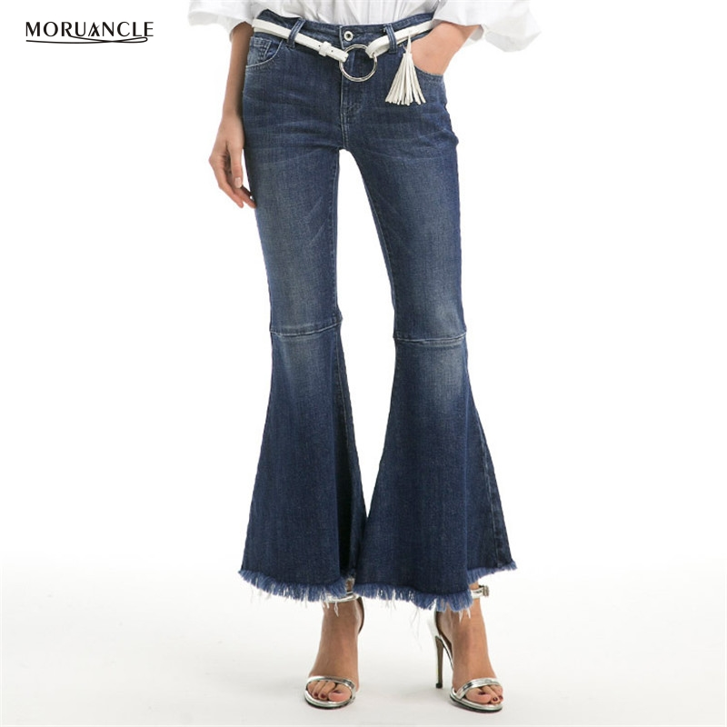 MORUANCLE New Fashion Womens Wide Leg Jeans Pants High Waisted Autumn Boot Cut Flare Denim Trousers For Female Wahsed Size S-XL women jeans autumn new fashion high waisted boyfriend street style roll up bottom casual denim long pants sp2096