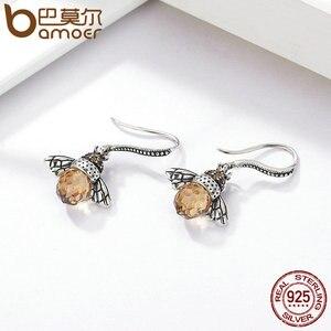 Image 4 - BAMOER Hot Sale Genuine 925 Sterling Silver Lovely Orange Bee Animal Drop Earrings for Women Fine Jewelry Gift Bijoux SCE149