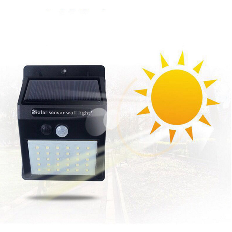 Lámpara de inducción de luz de jardín del cuerpo humano Sensor de movimiento al aire libre de la calle linterna lámparas con Solaire de energía de la batería 20/30