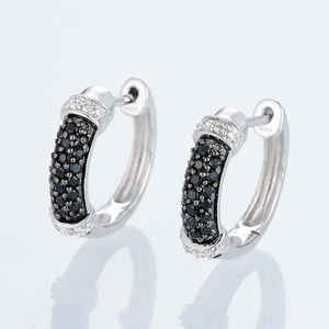 Image 4 - SANTUZZA Silver Jewelry Set For Women Pure 925 Sterling Silver Black Spinel Cubic Zirconia Ring Earrings Set Party Fine Jewelry