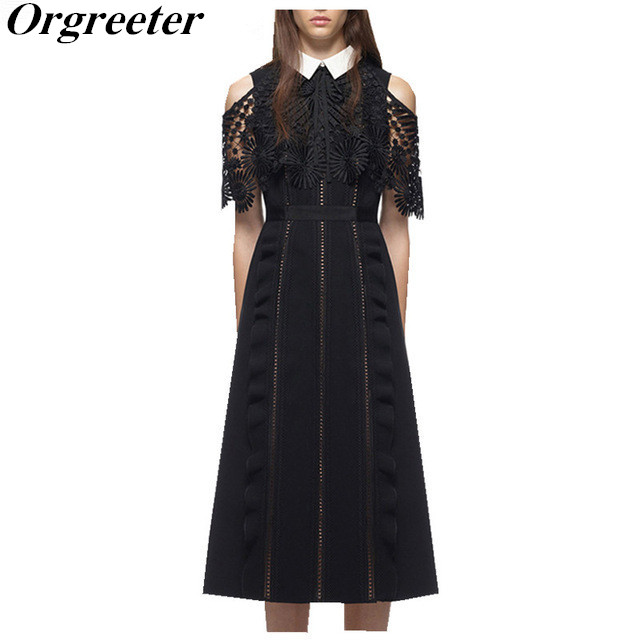 Orgreeter High Quality Summer Dress 2017 Runway Women Vintage Off Shoulder Hollow Out Lace Cloak Sleeve