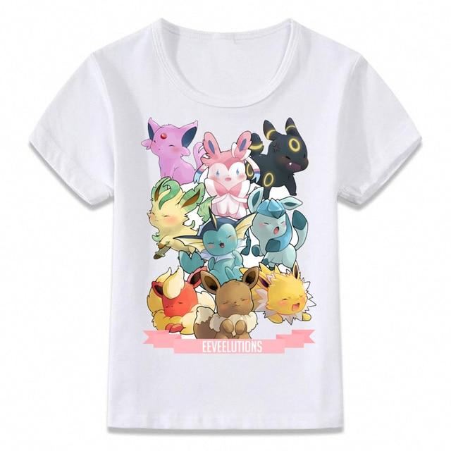 Kids Clothes T Shirt Pokemon Eevee Evolution Children For Boys And Girls Toddler