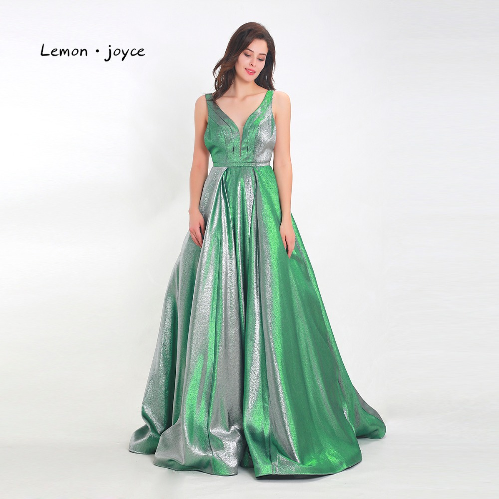 Lemon Joyce Formal Evening Dresses 2019 New Style Sexy V-neck Backless Simple A-line Prom Party Gowns Plus Size Reflective Dress