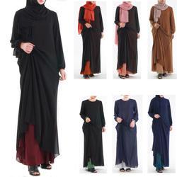 2019 новые женские мусульманские платья высокого качества, двухсторонняя одежда, Исламская одежда, однотонные, Реверсивные, кафтан