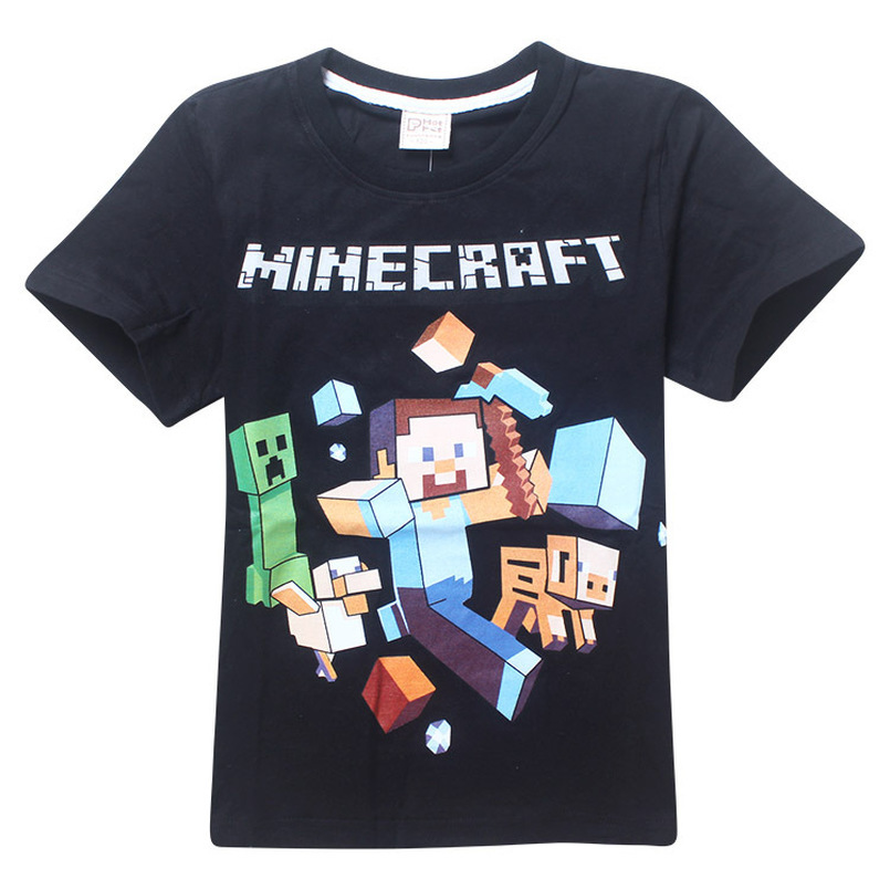 Minecraft Cartoon Print Boys Clothes 100%Cotton Short Sleeve T-shirt Baby Boy Top Summer Kids Tees Shirts Casual blouse Clothing freeshipping summer children boy baby kids black blue white cartoon pattern short sleeve sports cotton shirt t shirt pexz01p59
