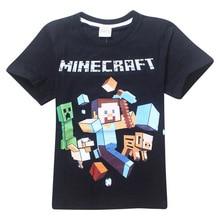 Minecraft Cartoon Print Boys Apģērbs 100% kokvilnas īsām piedurknēm T-krekls Baby Boy Top vasaras bērniem Tees krekli Ikdienas blūze Apģērbs