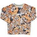 Menino & da menina Bonito do urso de Manga longa T Shirt T-shirt Roupas crianças e Crianças t camisa do bebê Delicado Estilo menino da menina do bebê roupas