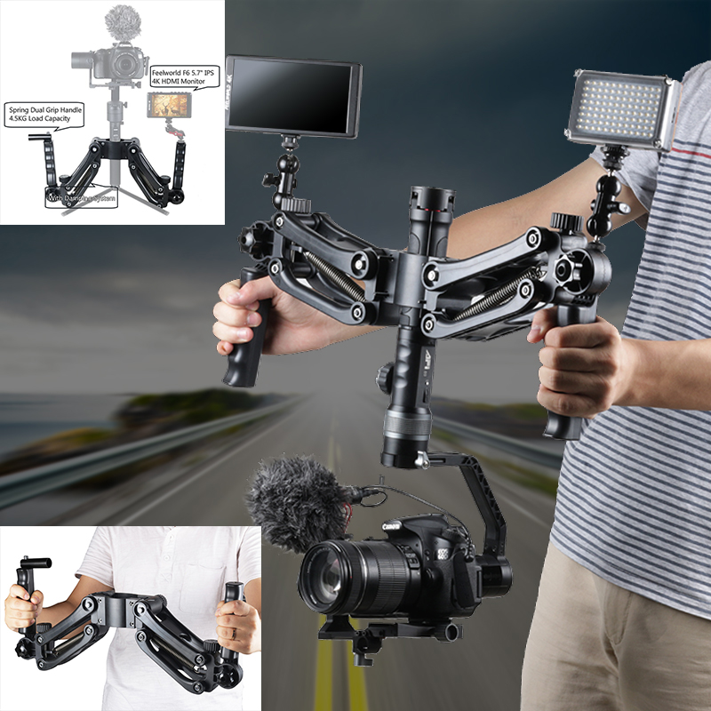 Steadymaker BOB Buster Gimbal Arm with Spring Dual Handle Steadicam Rig for Zhiyun Gimbal Crane 2 Plus Feiyu DJI RONIN S Moza dh04 z axis damping spring dual handle grip arm for zhiyun crane 2 ak2000 ak2000 moza dji ronin s smooth 4 osmo 2 3 axis gimbal