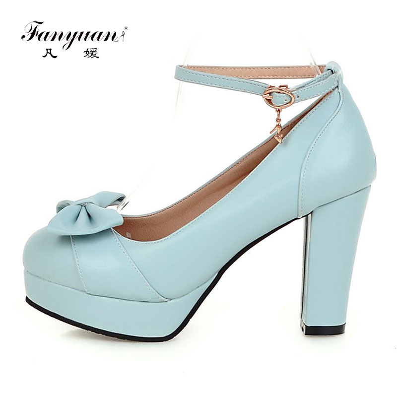 Fanyuan Ankle Strap Women High Heel Pumps Platform Heels Sweet Butterfly-knot Lolita Shoes Party Wedding Block Heel Ladies Shoes цена