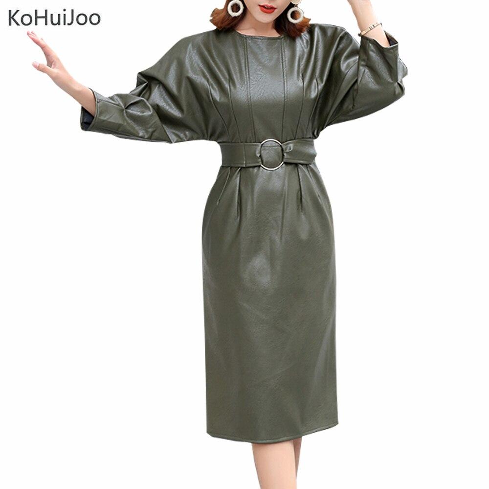 KoHuiJoo 2019 printemps automne nouvelle mode en cuir robe femmes à manches longues ceintures taille haute Pu cuir robes O cou genou longueur