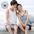 Sales! Summer Women/Men Lovers Sleeveless Pajamas Sleepwear 100% Cotton Stripe Pyjama Shorts Couple Pajama Set Plus Size 3XL