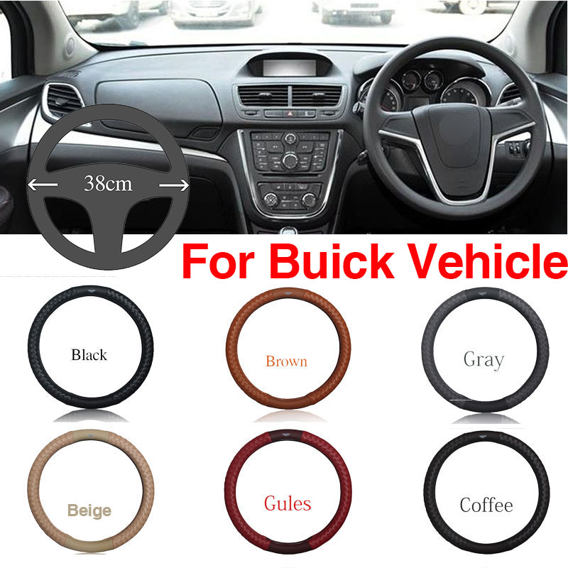 Ipoboo Top PU Leather Diamond weave Plaid Anti-Slip Steering Wheel 6 Colour Choice Cover For Buick Series Vehicle