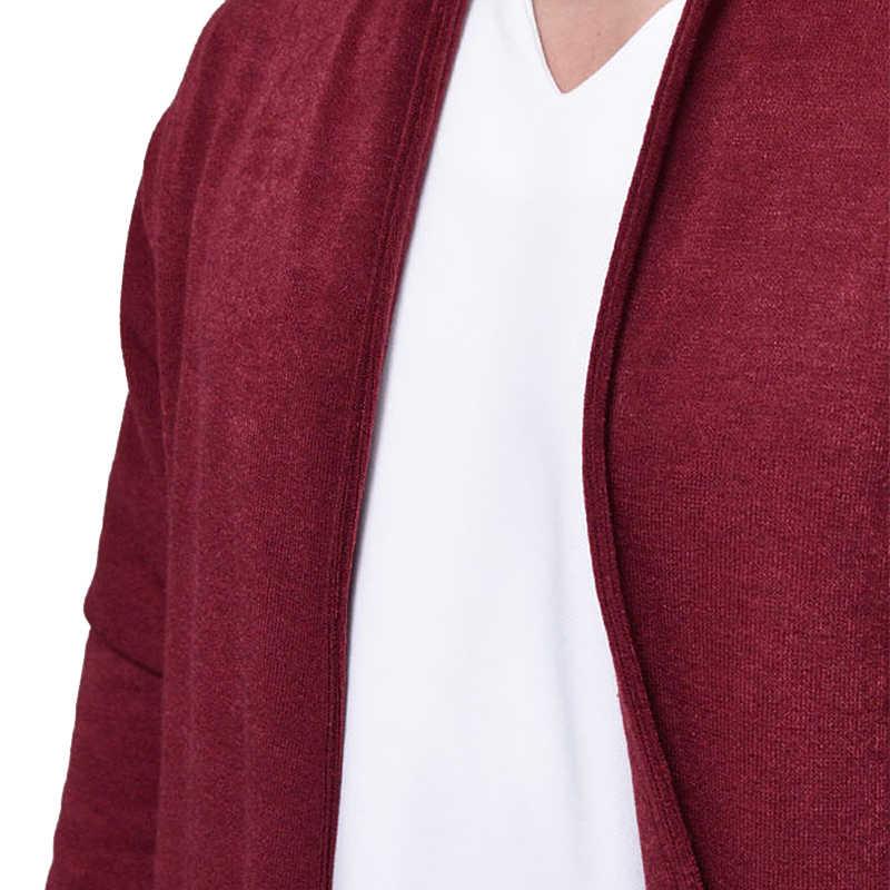 Новый серый открытый фронт мужские Трикотажный кардиган свитера тонкий Повседневное бренд Пелерина-накидка пальто мужская с длинным рукавом кардиганы с карманом 2XL