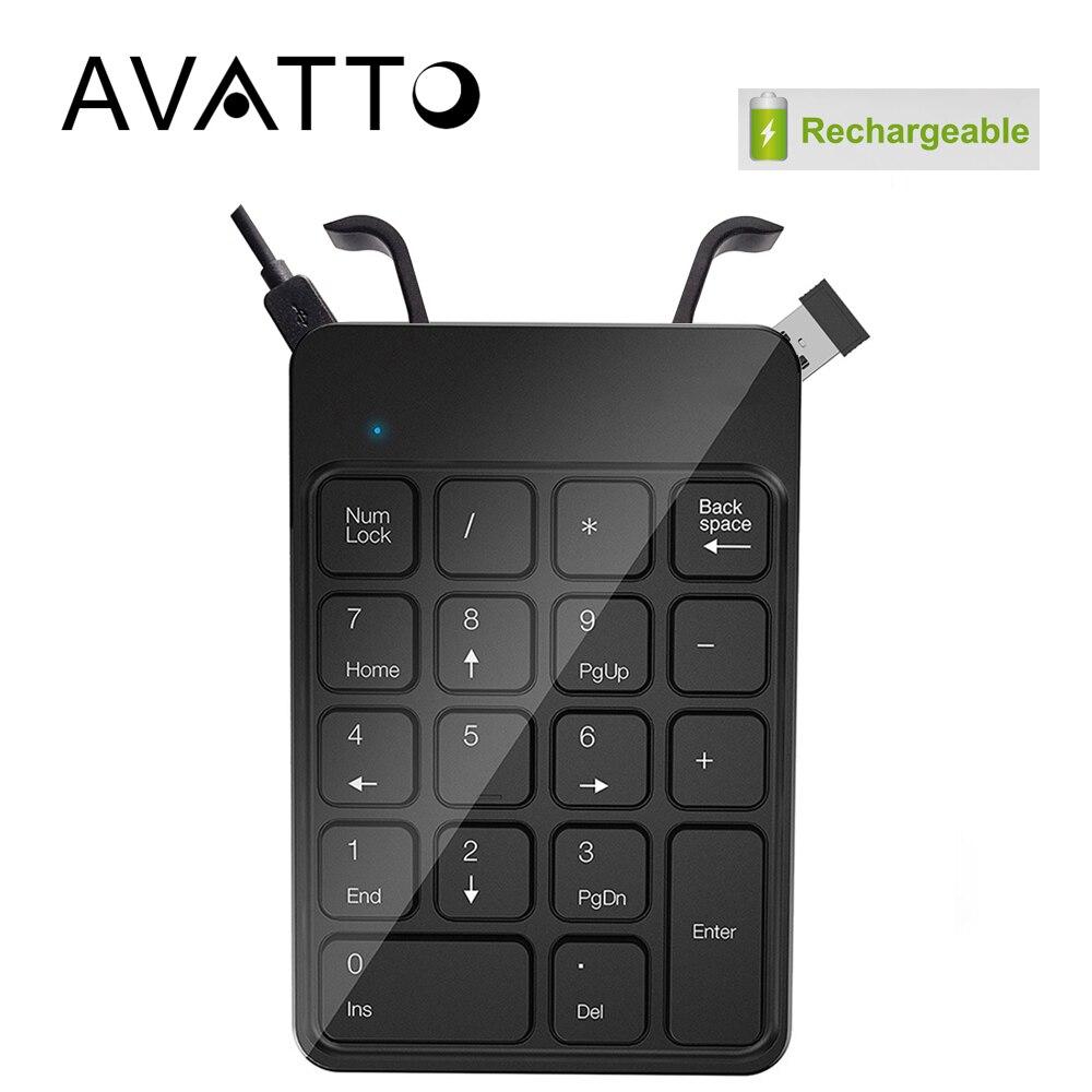 [AVATTO] Rechargeable 2.4G Wireless USB Numeric Keypad Numpad Number 18 keys Pad Chocolate Keyboard for Laptop Desktop PC