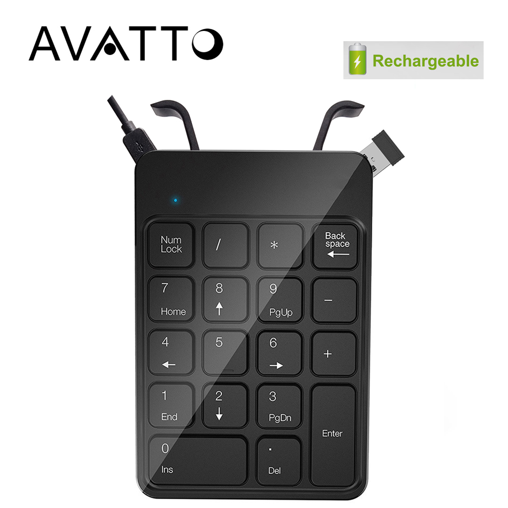[AVATTO] Rechargeable 2.4G Wireless USB Numeric Keypad Numpad Number 18 keys Pad Chocolate Keyboard for Laptop Desktop PC [avatto] rechargable 2 4g wireless usb numeric keypad 18 keys for digital keyboard ultra slim number pad compute pc laptop