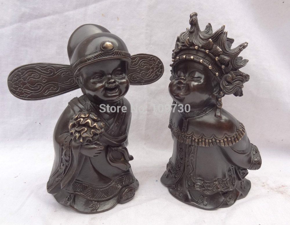 002784 China Pure Bronze Dragon Phoenix Couple Happy Flower Bridegroom Bride Statue