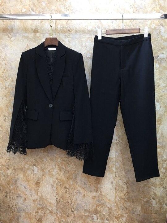 Kadın Giyim'ten Kadın Setleri'de Lideri Yeni kadın Suit Erken Sonbahar, 2019 Açık Dantel Dikiş Uzun Kollu Üst + Pantolon Takım Elbise 713'da  Grup 1