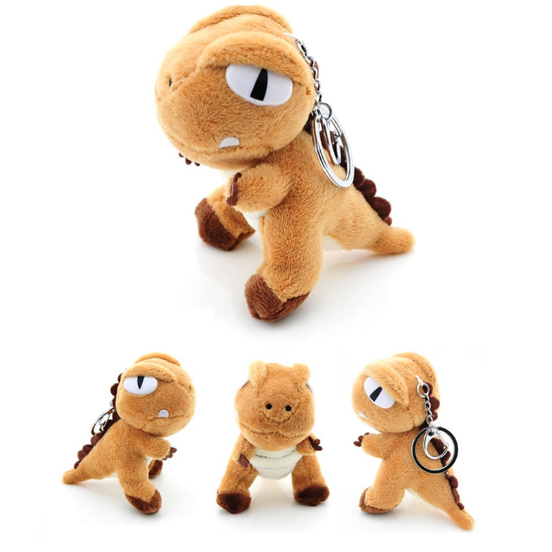 Fashion New Cute Tyrannosaurus Plush Doll Key Ring Chain Woman Bag Pom Pom Dinosaur Toy Silver Keychain Man Trinket Party Gifts in Key Chains from Jewelry Accessories