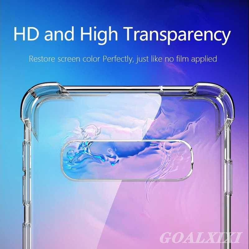 لسامسونج S10 زائد حقيبة لهاتف سامسونج غالاكسي S10 حالات ضئيلة مكافحة تدق شفافة TPU لينة غطاء ل غالاكسي S10E S10 + فوندا