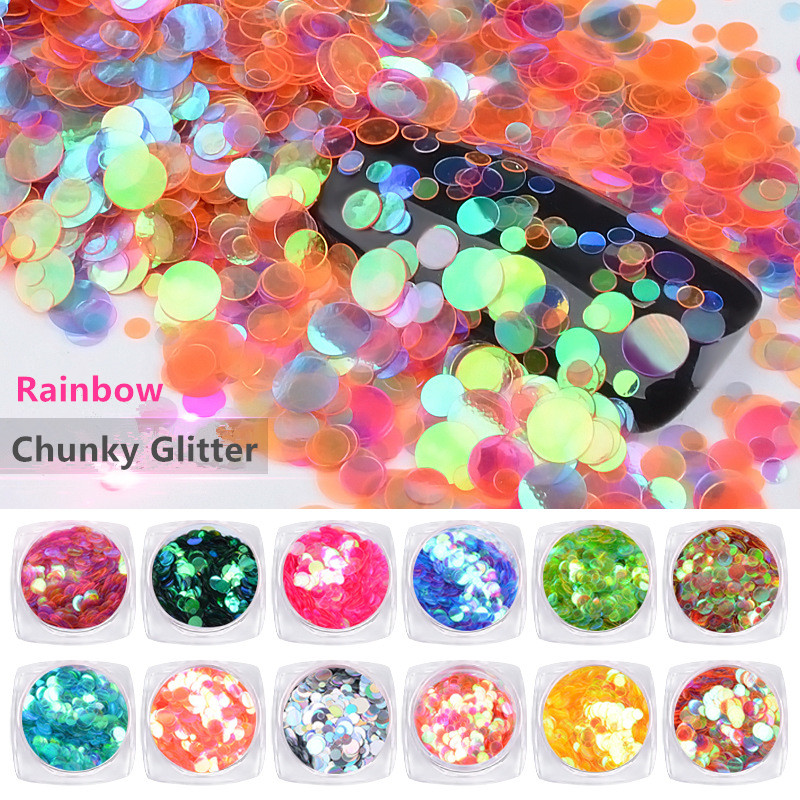 1Box Rainbow Chunky Nail Glitter Sequins Colorful Round Paillette Manicure Nail Flakes Decorations Nail Art Confetti ziane chunky 216 1