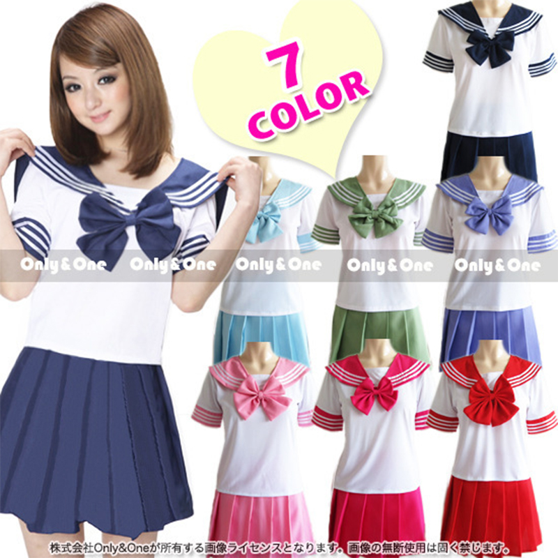 Anime Costume Sailor Uniform Japan School Girls Cosplay Uniforms Short Sleeve T-Shirt Pleated Skirt Lala Cheerleader Clothing