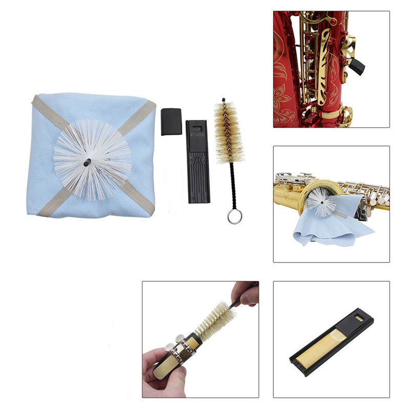 buy saxophone cleaning tool kit cleaning cloth brush thumb rest reed case for. Black Bedroom Furniture Sets. Home Design Ideas