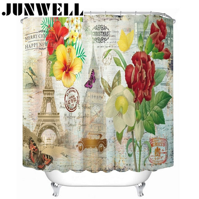 13PCS SET Polyester Waterproof Fabric Shower Curtains Paris Scenic Printing Bath Curtain With 12 Hooks