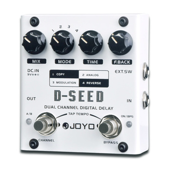 JOYO D-SEED Dual Channel Digital Delay Guitar Effect Pedal Delay Copy Analog Reverse Modulation Models Effects with Tap Tempo