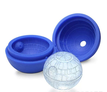 1ps Hot Creative Silicone Blue Wars Death Star Round Ball Ice Cube Mold Tray Desert Sphere Mould DIY