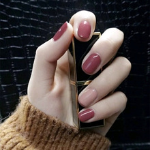 Sweet Soft Girls Bean Sand Powder Tender Jump Color Square Head Ins Wind Pure Color Fingernail Products Wear Beauty цена