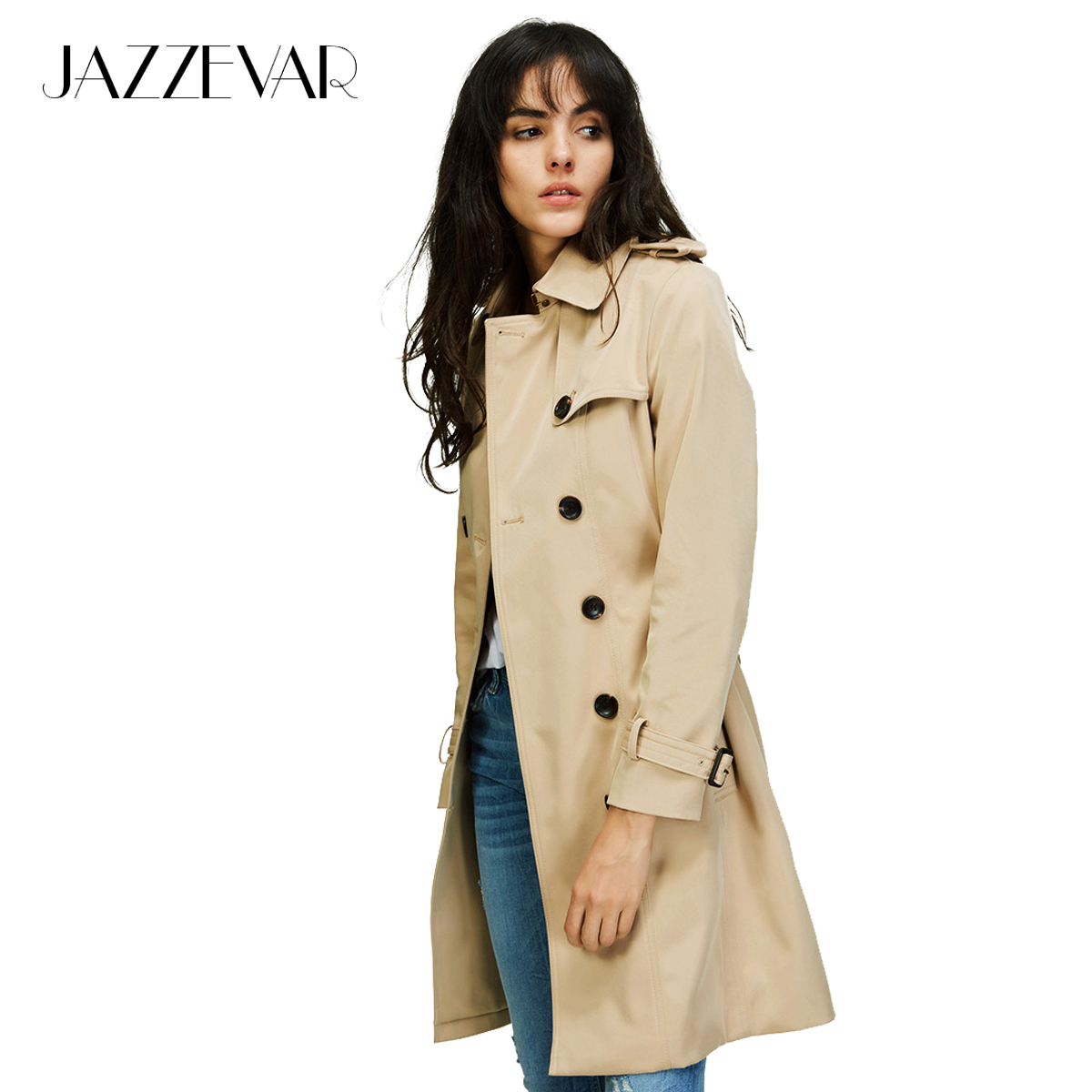 JAZZEVAR 2019 Autumn New High Fashion Brand Woman Classic Double Breasted Trench Coat Waterproof Raincoat Business Outerwear(China)