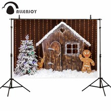 Allenjoy photography backdrop Christmas tree cottage reindeer snow glitter decoration background photophone photocall shoot prop